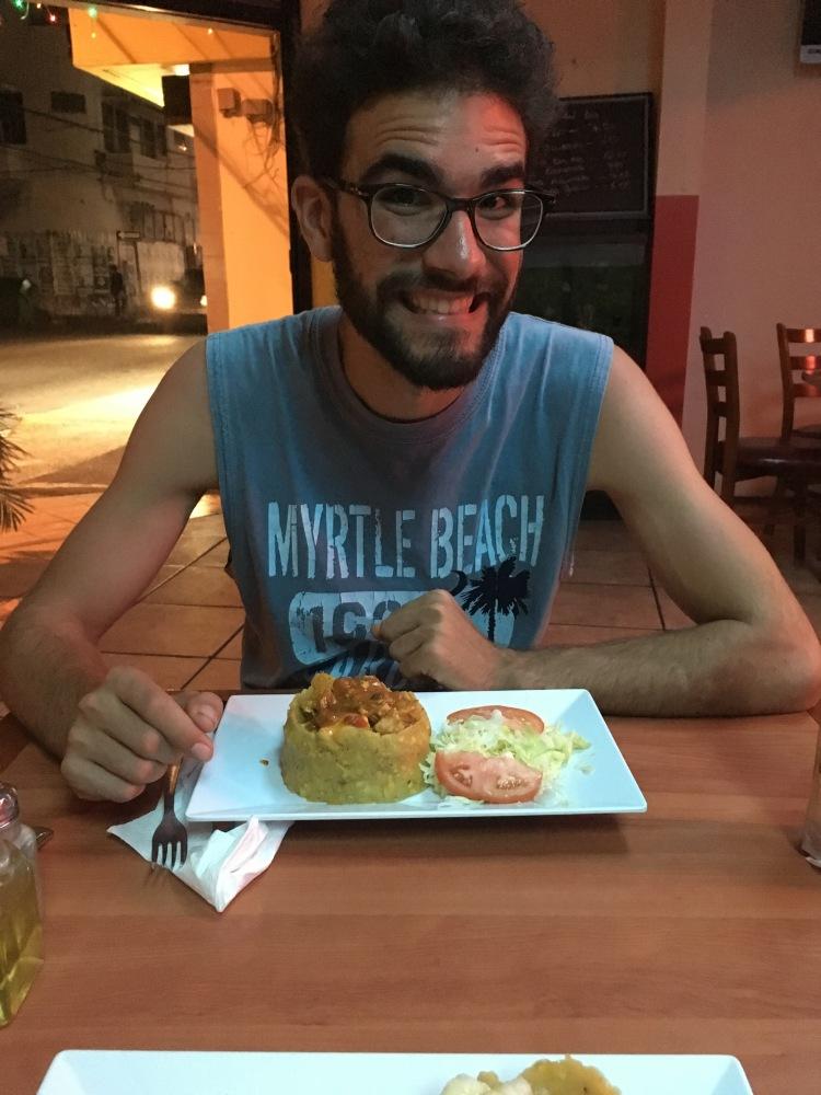Dominic et son assiette de Mofongo, au Ana's Café, à San Juan
