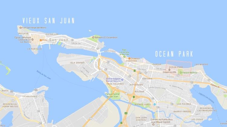 Carte de San Juan incluant Ocean Park et le Vieux San Juan