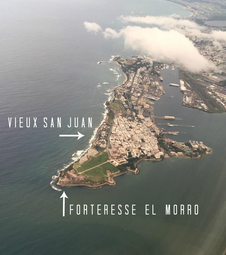 Vue aérienne du Vieux San Juan et la forteresse El Morro